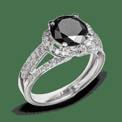Кольцо с черным бриллиантом - изысканная роскошь для лучших Золотое кольцо  корона Каблучка з білого золота 941561576d53e