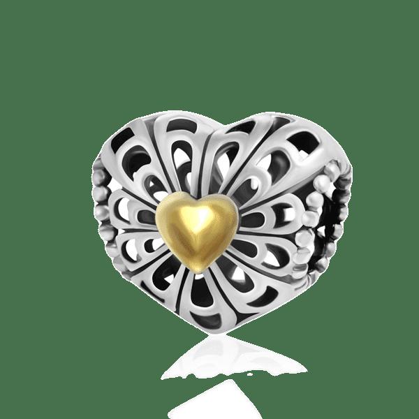 Серебряный кулон-шарм в стиле Пандора в виде сердца