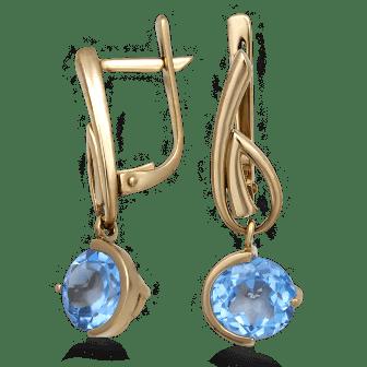Золотые серьги. Топаз. Фото