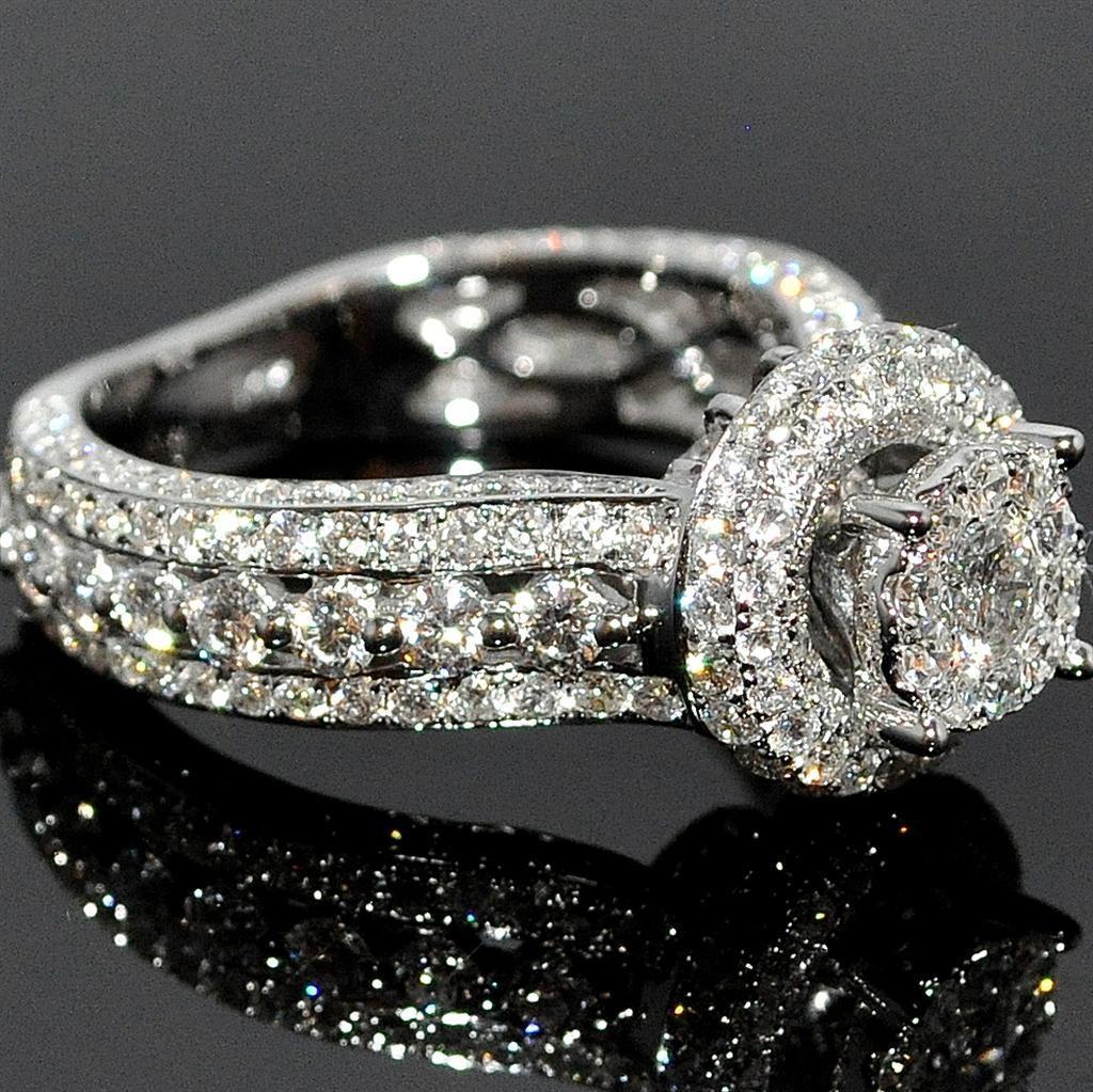 Каблучка з білого золота з діамантами